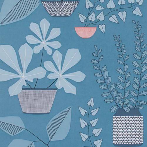 Papier peint House Plants de MissPrint coloris Bleu MISP1175