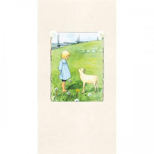 Bä bä vita lamm panel wallpaper - Boråstapeter