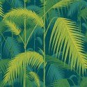 Papier peint Palm Jungle de Cole and Son coloris Jaune citron/Bleu pétrol 112-1002