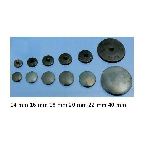 Boutons à recouvrir Coquille Alu Demi-bombée anti-rouille en boite de 100