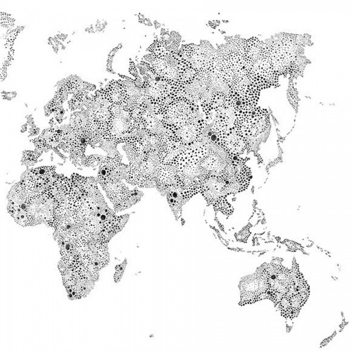 World Map wallpaper - Sandberg reference grey, black 630-09