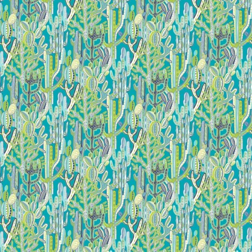 Cactus fabric - Gaston y Daniela color azul / verde