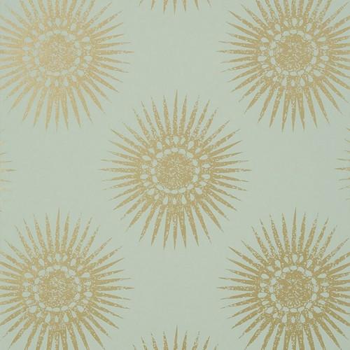 Bahia wallpaper - Thibaut color metallic gold / aqua T35144