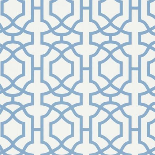 Alston Trellis wallpaper - Thibaut color blue / white T130-29