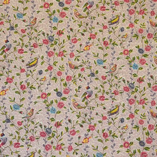 Toile de Jouy Fleurs et Oiseaux de Casal référence 30411/8090 grenat-rose