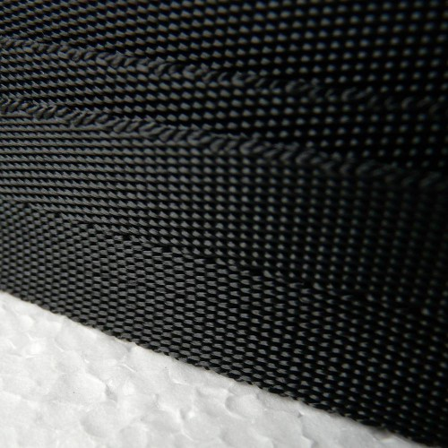 Black flexible polyester strap 40 mm wide