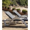 CARMEN Sunlounger by Baillou - White structure and dark grey seat