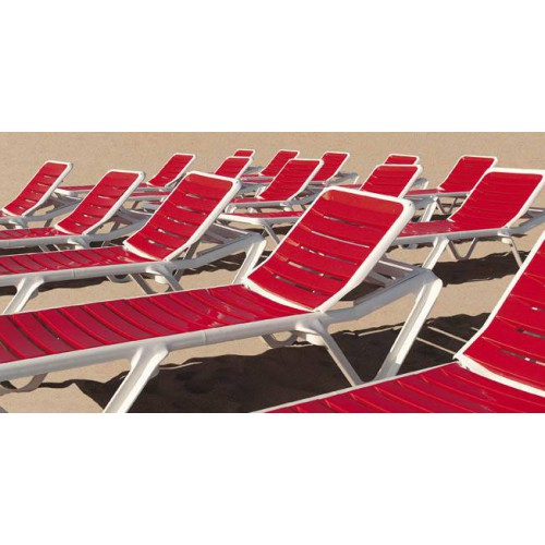 Eva RTG Sunlounger by Baillou - White and Coral