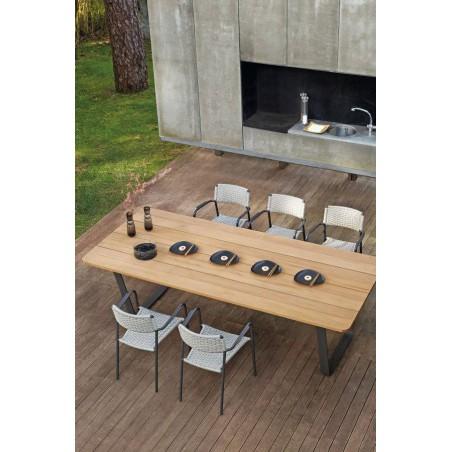 Rectangular outdoor dining table Air by Manutti - Lava frame, wood Iroko top