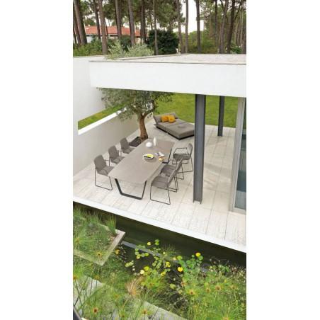 Rectangular outdoor dining table Air by Manutti - Lava frame, quartz top