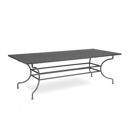 Rectangular outdoor dining table Capri by Manutti - Anthracite frame, blue stone dark top