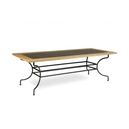 Rectangular outdoor dining table Capri by Manutti - Rubbed brown frame, border teak with stone