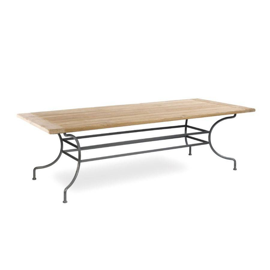 Rectangular outdoor dining table Capri by Manutti - Anthracite frame, aged teak top