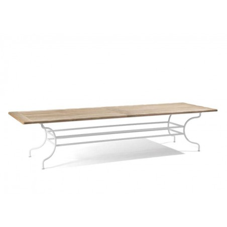 Rectangular outdoor dining table Capri by Manutti - White frame, aged teak top