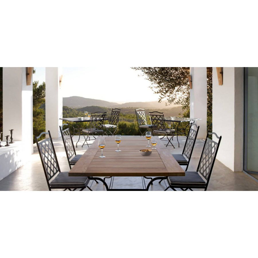 Rectangular outdoor dining table Capri by Manutti - Rubbed brown frame, teak top