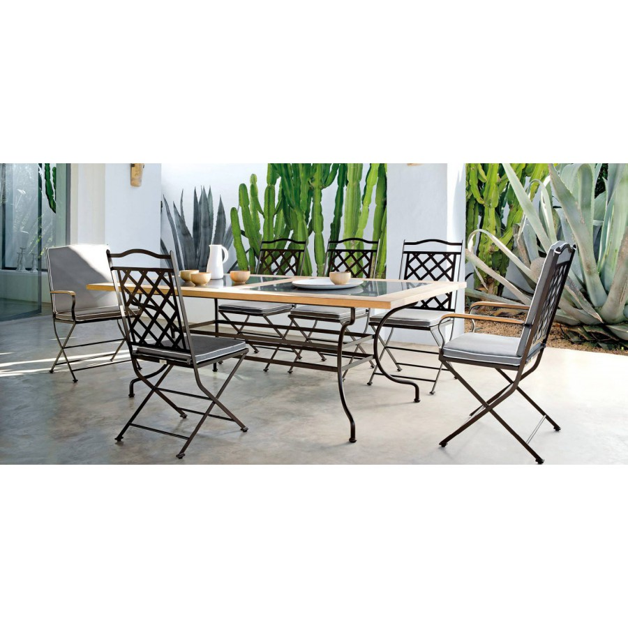 Rectangular outdoor dining table Capri by Manutti - Rubbed brown frame, border teak with stone top