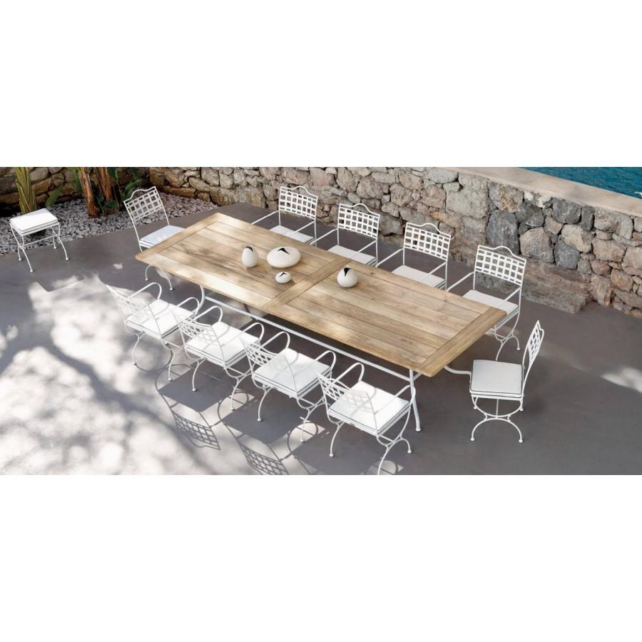 Rectangular outdoor dining table Capri by Manutti - White frame, teak top