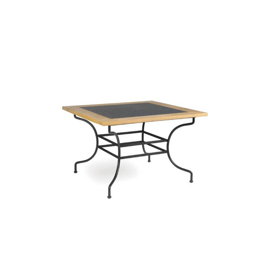 Square outdoor dining table Capri by Manutti - Anthracite frame, border teck with stone top