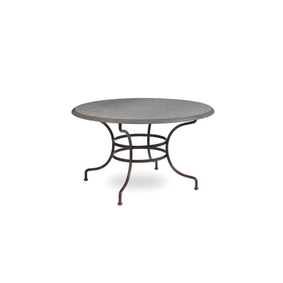 Round outdoor dining table Capri by Manutti - Rubbed brown frame, stone top