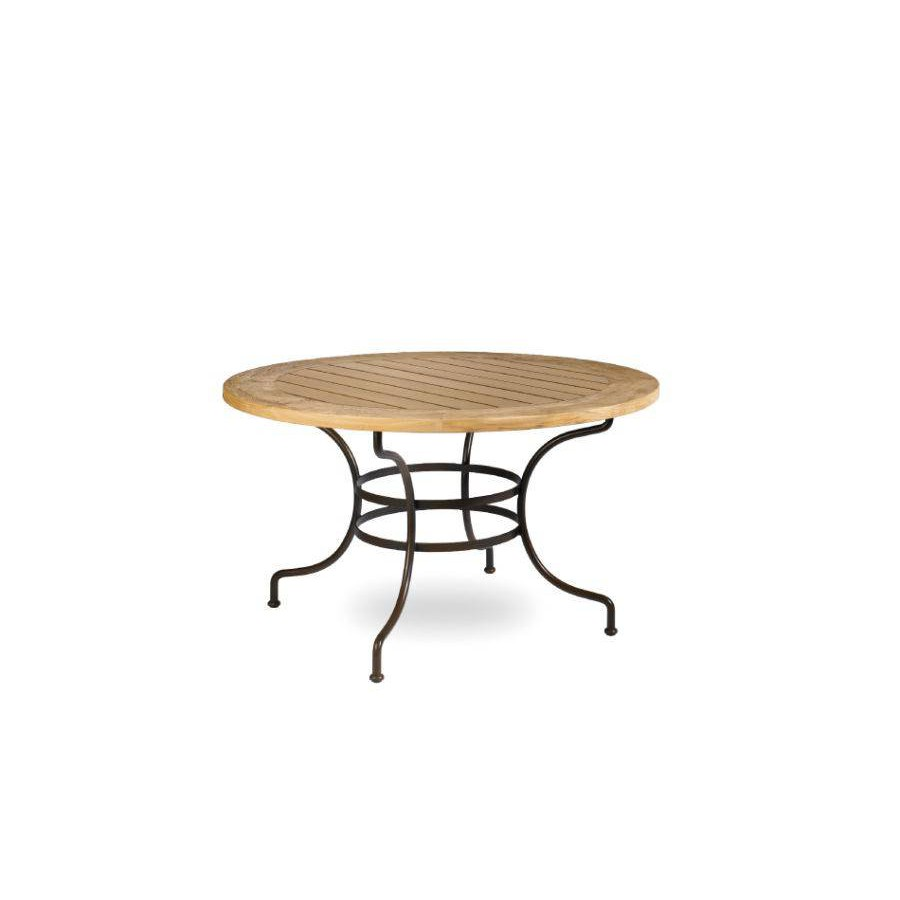 Round outdoor dining table Capri by Manutti - Rubbed brown frame, teak top