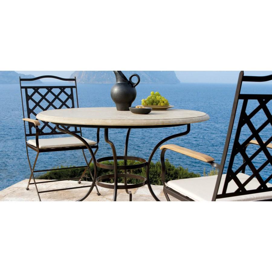 Round outdoor dining table Capri by Manutti - Rubbed brown frame, santigo stone sand  top