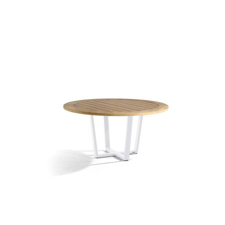 Round outdoor dining table Fuse by Manutti - White frame, teak top