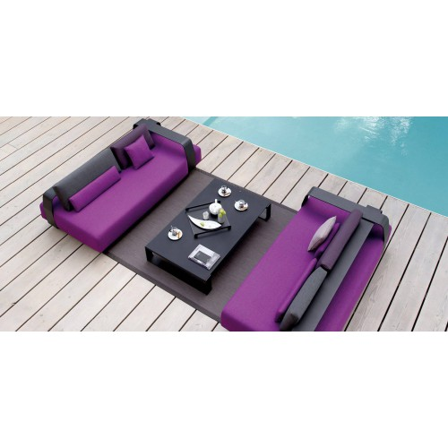 Rectangular outdoor coffee table Prato by Manutti - Lava frame, charcoal ceramic top