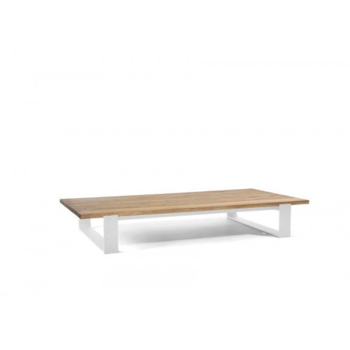 Rectangular outdoor coffee table Prato by Manutti - White frame, aged teak top