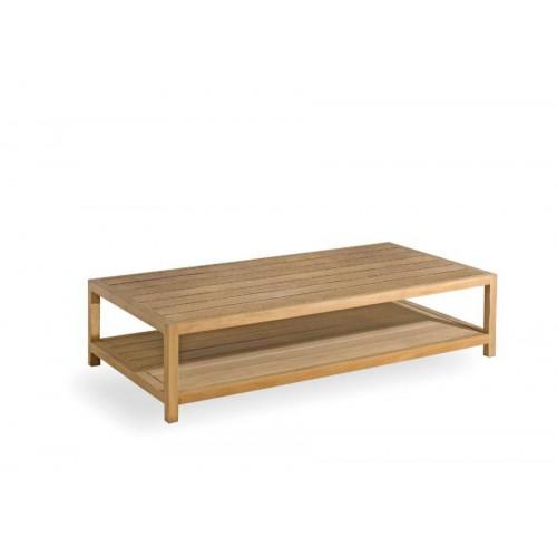 Table basse rectangulaire pour l'extérieur Sorento de Manutti - Cadre et plateau teck