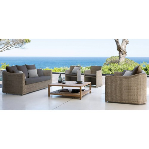 Square outdoor coffee table Sorento by Manutti - Teak frame and top