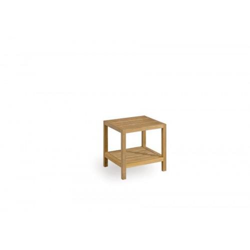 Table d'appoint carrée pour l'extérieur Sorento de Manutti - Cadre et plateau teck