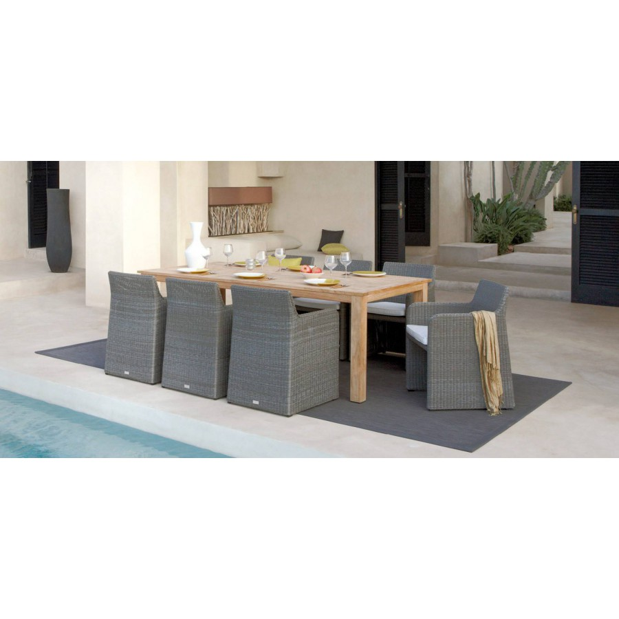 Extendible outdoor dining table Milano by Manutti - Closed, frame and top teak