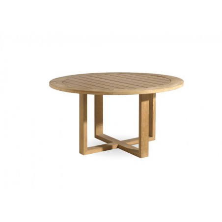 Round outdoor dining table Siena by Manutti - Teak frame and top