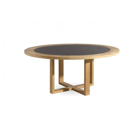 Round outdoor dining table Siena by Manutti - Teak frame and borde teak with stone top