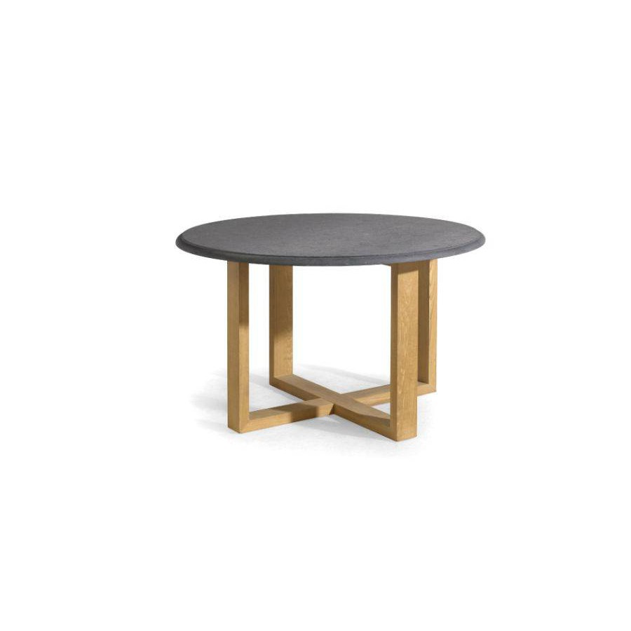 Round outdoor dining table Siena by Manutti - Teak frame and stone top