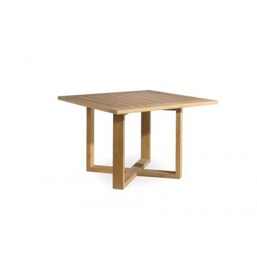 Table de repas carrée pour l'extérieur Siena de Manutti - Cadre et plateau teck, piétement à 45°