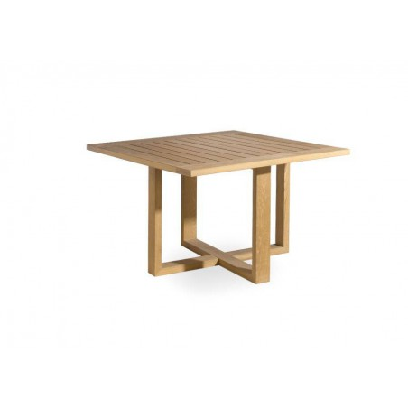 Square outdoor dining table Siena by Manutti - Teak frame and top, base to 90°