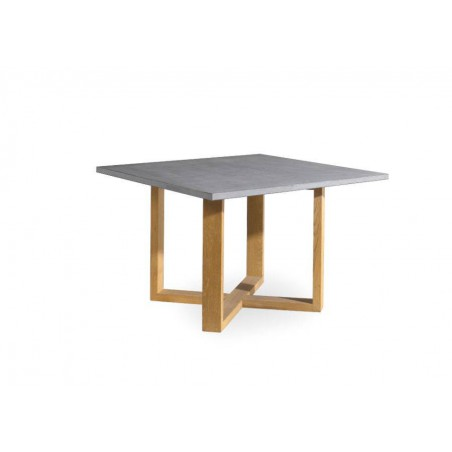 Square outdoor dining table Siena by Manutti - Teak frame and stone top, base to 45°