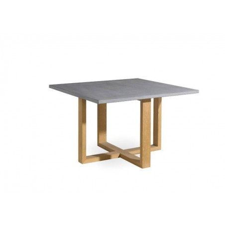 Square outdoor dining table Siena by Manutti - Teak frame and stone top, base to 90°
