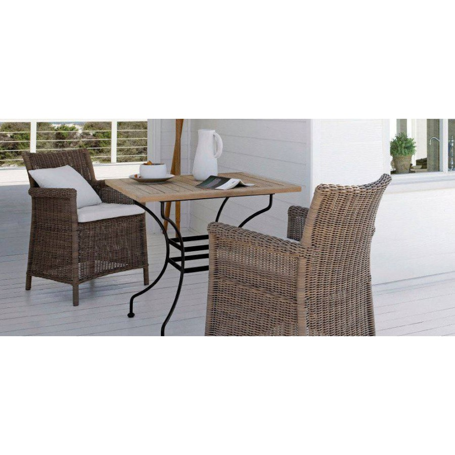 Square outdoor dining table Capri by Manutti - Anthracite frame, teck top