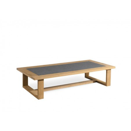 Rectangular outdoor coffee table Siena by Manutti - Teak frame and stone top
