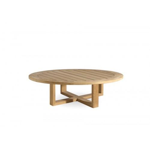 Table basse ronde pour l'extérieur Siena de Manutti - Cadre et plateau teck