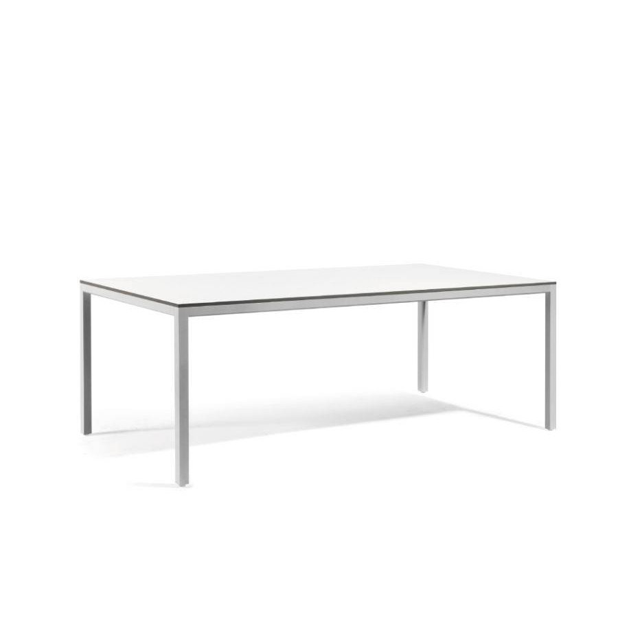 Rectangular outdoor dining table Quarto by Manutti - Shingle frame, white Trespa top