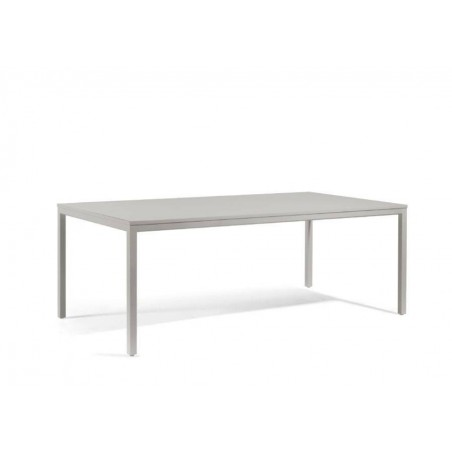 Rectangular outdoor dining table Quarto by Manutti - Shingle frame, acid etched sand top