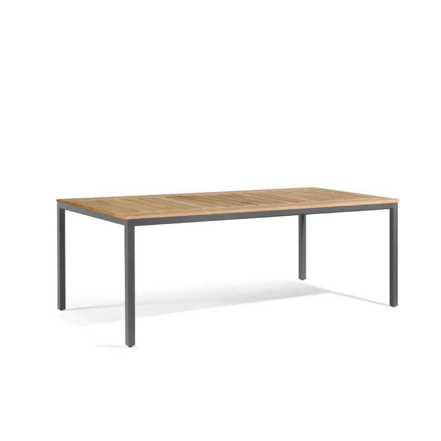 Rectangular outdoor dining table Quarto by Manutti - Lava frame, teak top