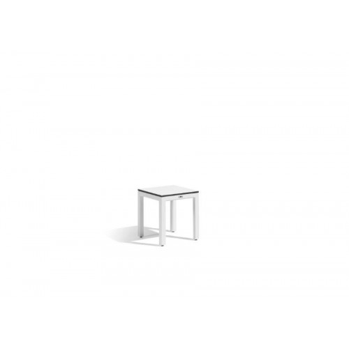 Outdoor footstool Quarto by Manutti - White frame, white Trespa top