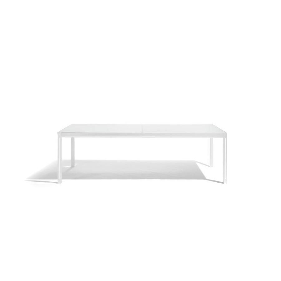 Extendible outdoor dining table Luna by Manutti - White frame and led-lighting, white acid etched glass top