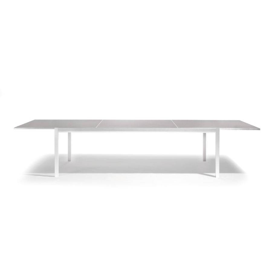 Extendible outdoor dining table Luna by Manutti - White frame whitout led-lighting, taupe acid etched glass top