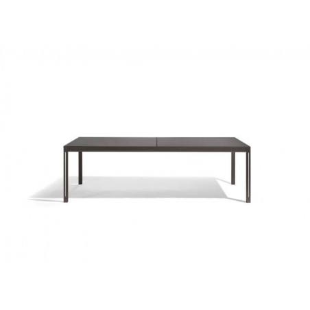 Extendible outdoor dining table Luna by Manutti - Lava frame and option led-lighting, charcoal ceramic top