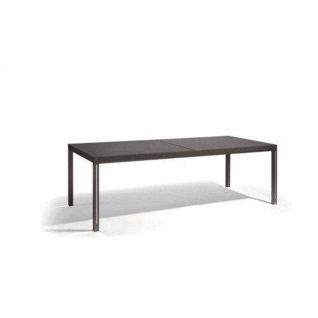 Extendible outdoor dining table Luna by Manutti - Lava frame and led-lighting option, black Trespa top